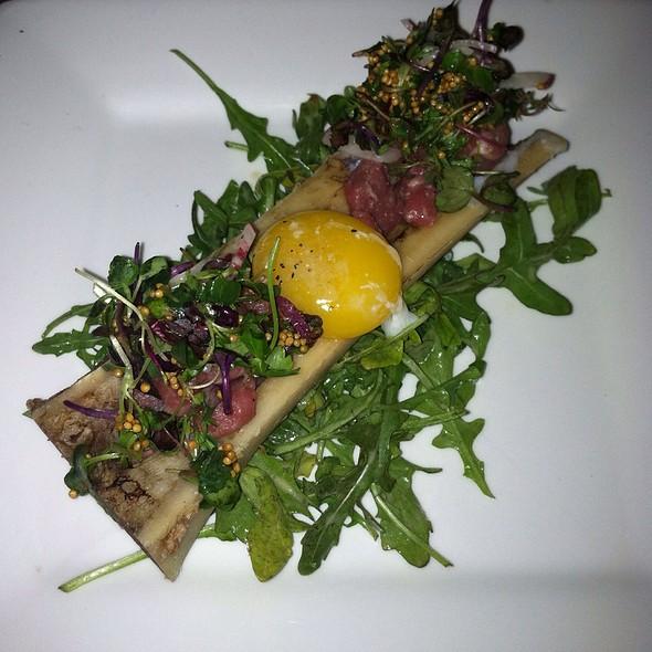 Steak Tartare: Tempered Egg, Breakfast Radish, Arugula, Pickled Mustard Seeds, Horseradish Vinaigrette - Fahrenheit - Cleveland, Cleveland, OH