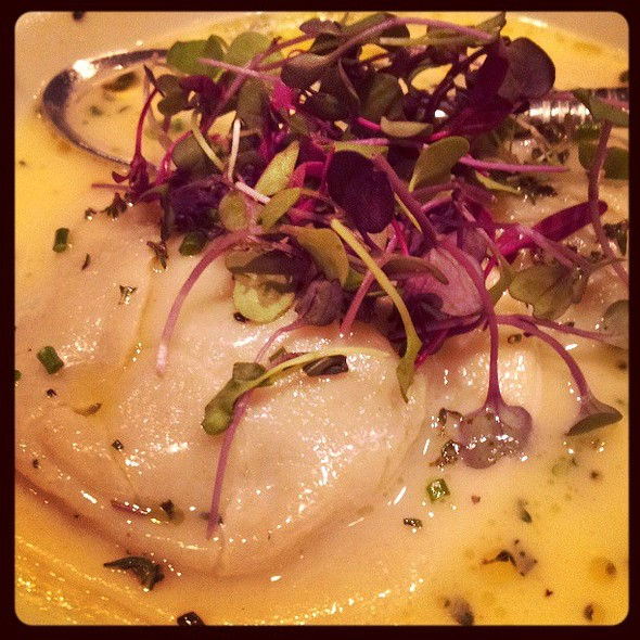 Truffled Salsify Ravioli with Parmesan Broth. @ Cowell & Hubbard