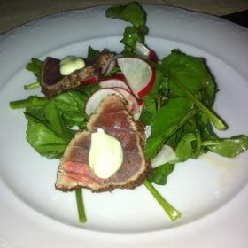 Herb Crusted Tuna On Watercress With Wasabi Aioli