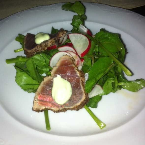 Herb Crusted Tuna On Watercress With Wasabi Aioli - Cantine Bistro & Bar, Toronto, ON