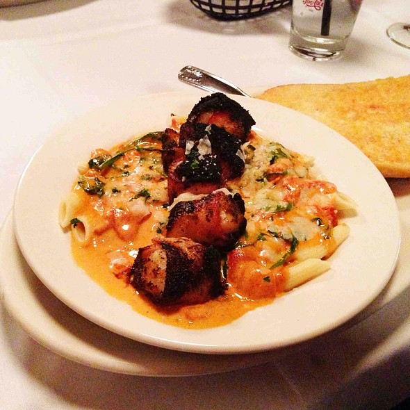 Blackened Bacon Wrapped Scallop Penne - 42nd Street Oyster Bar, Raleigh, NC