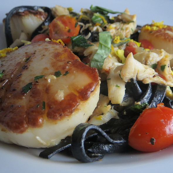 Squid ink linguine with Seared scallops and blue crab - Pelagia Trattoria, Tampa, FL