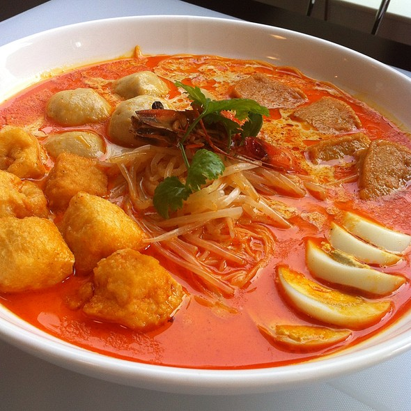Malaysian laksa. Rich seafood stock with curry. Terrific. @ Garden Cafe@ Parkyard Catering