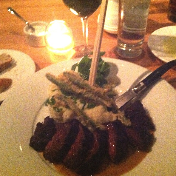 Grilled Hanger Steak With Scallion Mashed Potatoes And Tempura Asparagus - Parallax Restaurant & Lounge, Cleveland, OH