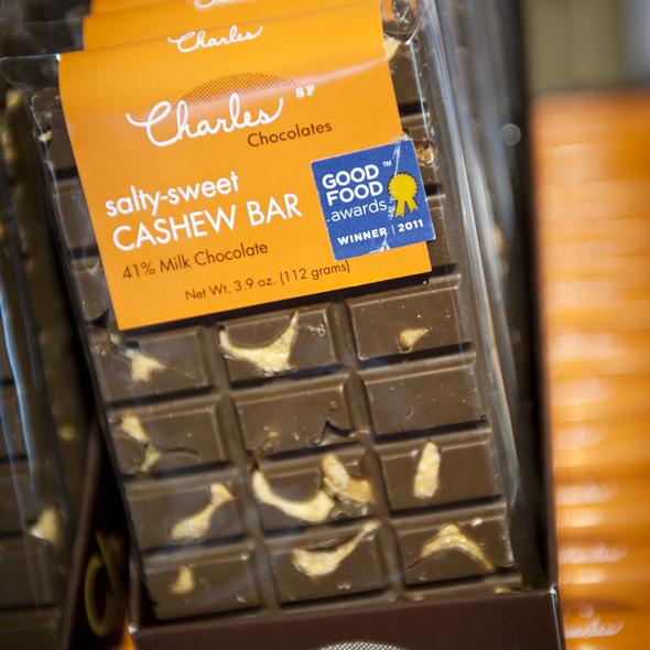 Salty-sweet cashew bar @ Charles Chocolates