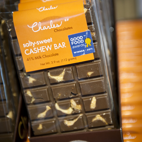 Salty-sweet cashew bar @ Charles Chocolates