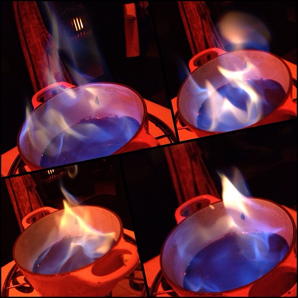 Flaming Chocolate Fondue - Geja's Café, Chicago, IL
