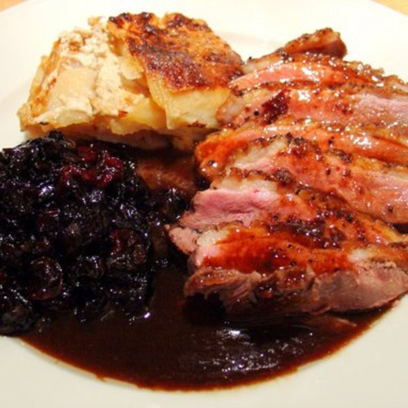 Duck Breast with Balsamic Onion & Fruit Relish and Scalloped Potatoes @ Justafoodie's by Invitation