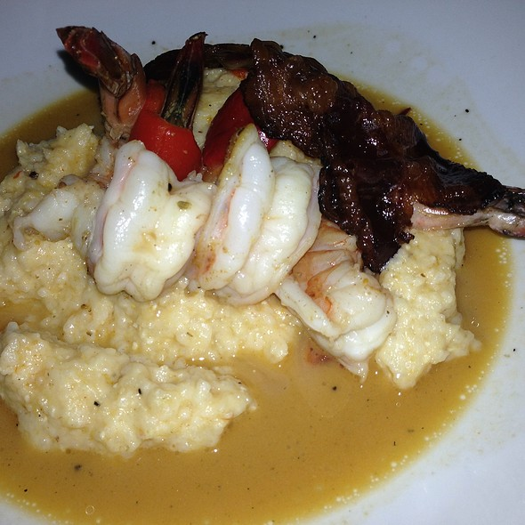 Shrimp Grits With Beef Bacon Roasted Peppers And Shrimp Butter - Post & Beam, Los Angeles, CA