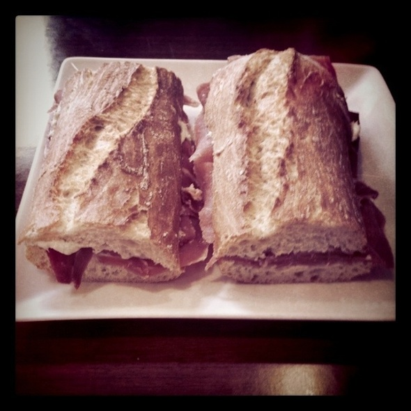 Jamon serrano sandwich with blue cheese @ Las Murallas