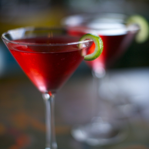 Pomegranate Martini with Lime Twist - Bistro 234, Turlock, CA