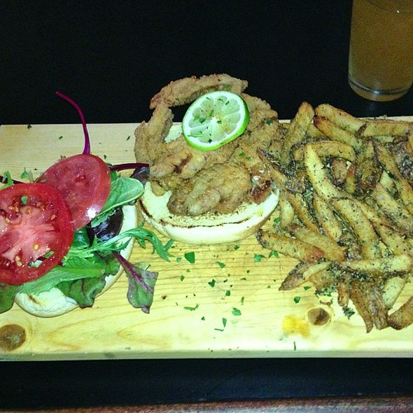 soft shell crab burger w/ garlic & herb fries  @ Hammerhead's