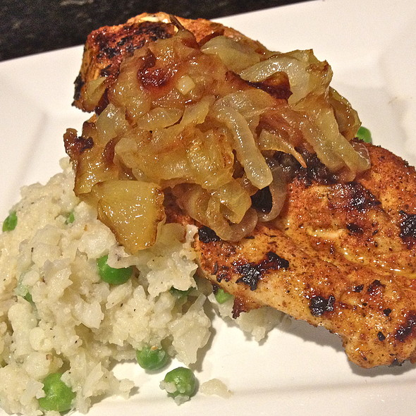 Blackened Chicken over Califlower and Pea Mash