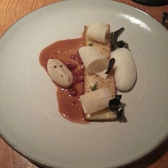 Parsnip roasted with banana mousse and bacon vinaigrette @ 11 Madison Park