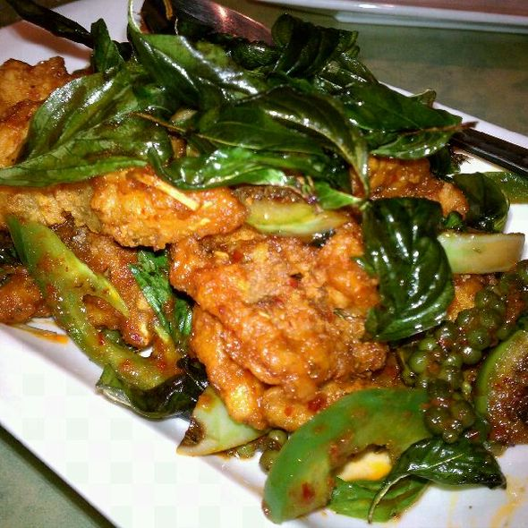 Fried catfish w/ baby thai eggplant and fresh green peppercorns