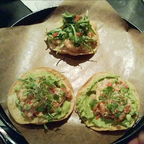 BC Side Stripe Shrimp Tostada and Tostada de Ceviche @ La Carnita