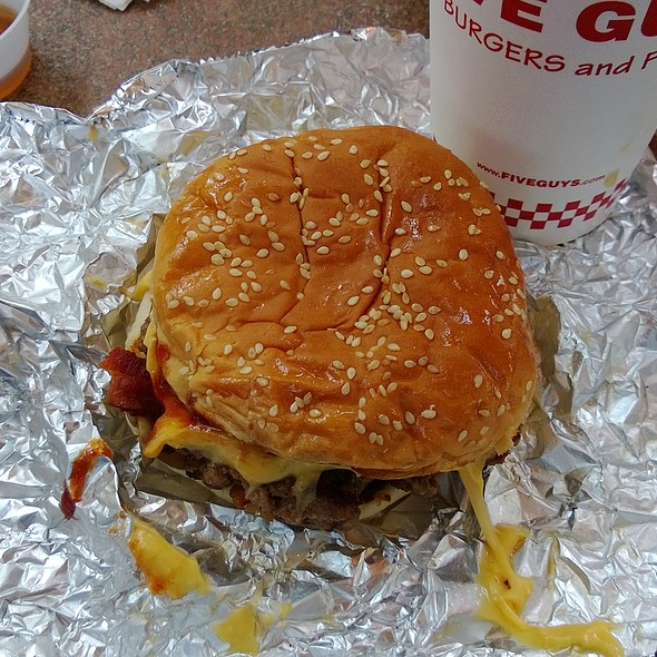 Bacon Cheeseburger w/grilled onions, BBQ sauce, mushrooms @ Five Guys