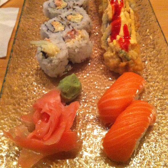 Salmon Nigiri, Spicy Salmon Roll, And California Sun Roll