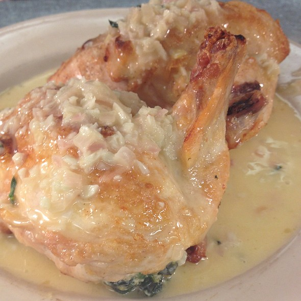 Asiago Spinach And Mushrooms Stuffed Hicken With Shallot Beurre Blanc @ Mark's Prime Steakhouse