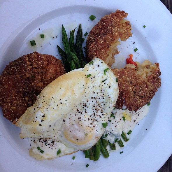 Risotto Cakes With Poached Egg,Asparagus And Red Pepper at Geer Street ...