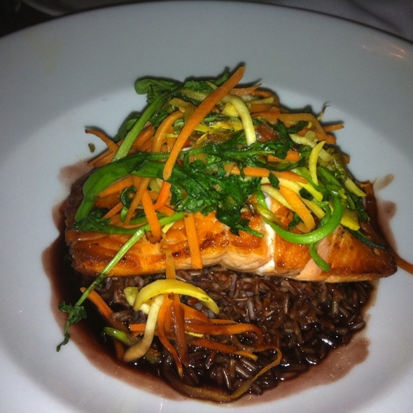 Pan Seared Artic Char Over Himalayan Red Rice And A Red Wine Pom. Butter Reduction @ Bistro 55