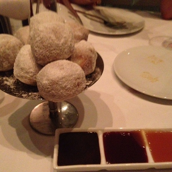 Doughnut Holes With Caramel, Raspberry And Chocolate Dipping Sauce - Red, the Steakhouse - Miami Beach, Miami Beach, FL