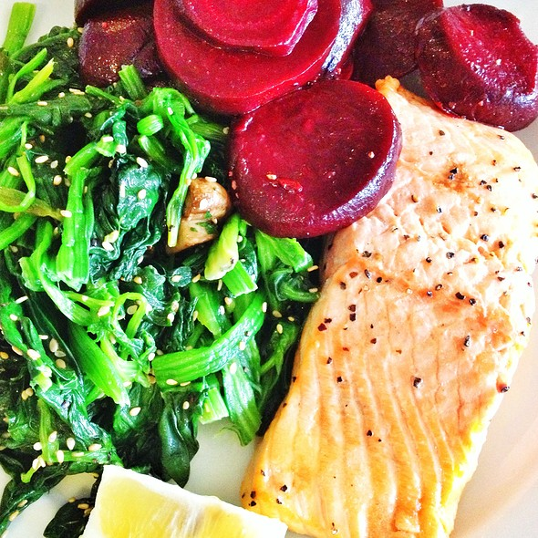 Poached Salmon With Beetroot And Spinach
