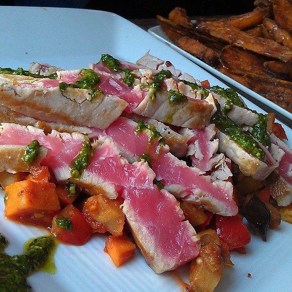 Seared Ahi Tuna over Ratatouille with Basil Pesto @ Gate House
