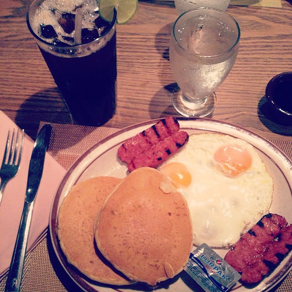 Pancakes With Eggs & Sausage @ The Executive Cafe