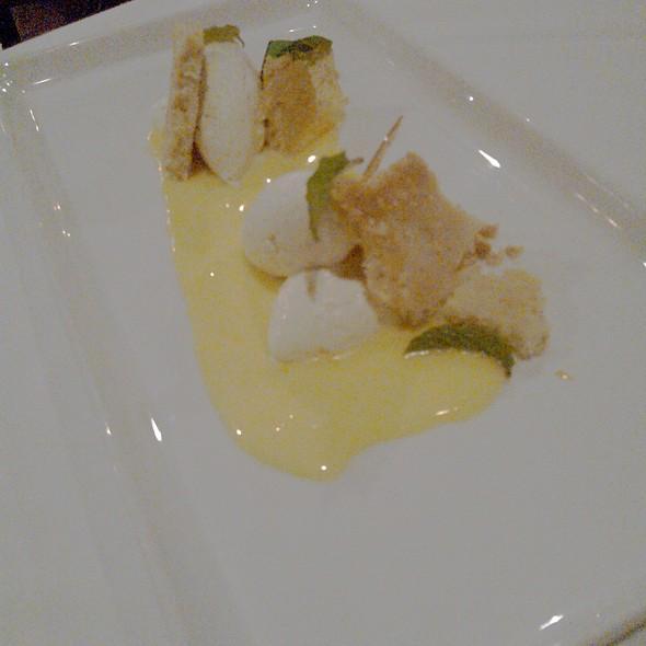 Lemon tart with shortbread and creme fraiche cremeaux