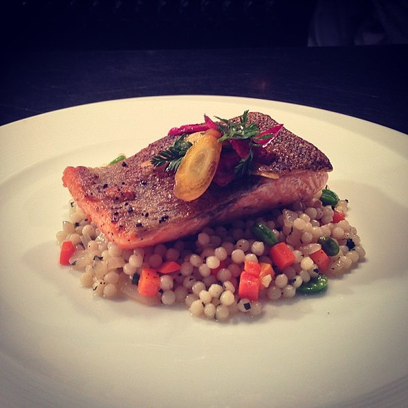 way to start off the season is with our crispy skin seared with a Cous Cous salad. always bringing . @ Roy Yamaguchi's Pacific Rim Cuisine