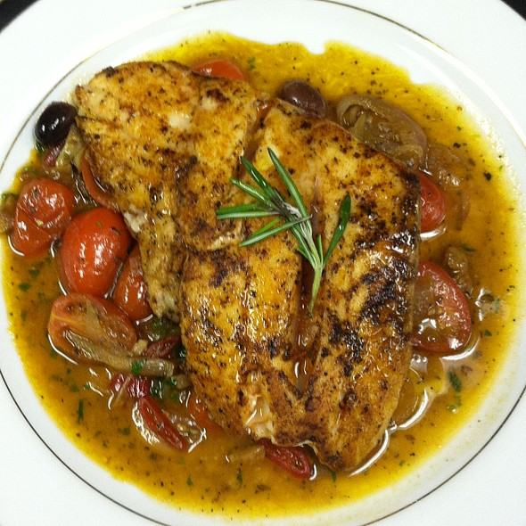 Red Snapper Fillet in white wine cherry tomato sauce - Cafe Mezzanotte, Wilmington, DE