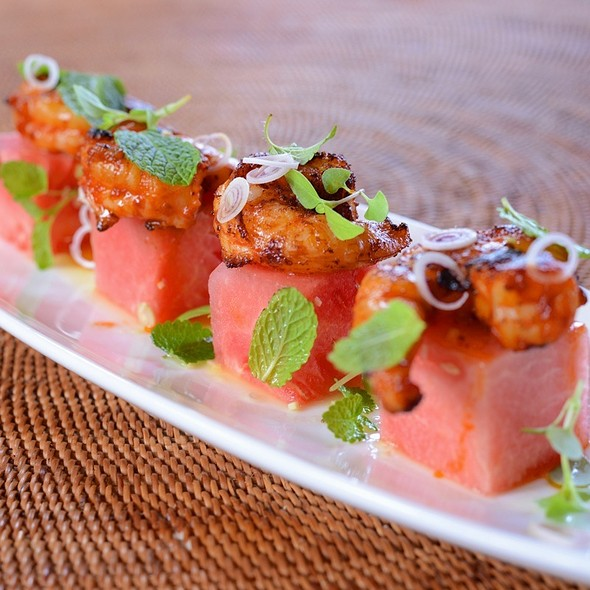 Thai Chili Paste Shrimp With Watermelon Salad @ 'ULU Ocean Grill