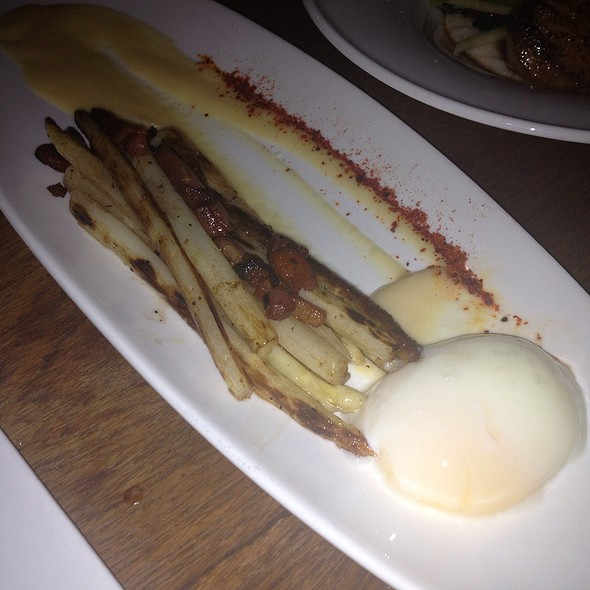 White Asparagus With Poached Egg And Truffle Sauce - Rocco's Electric Red Room and Ice Cream Emporium, Palm Springs, CA