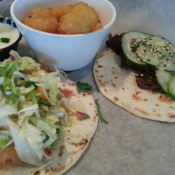 BBQ Short Rib And Shrimp Tempura Tacos @ Taqueria Tsunami