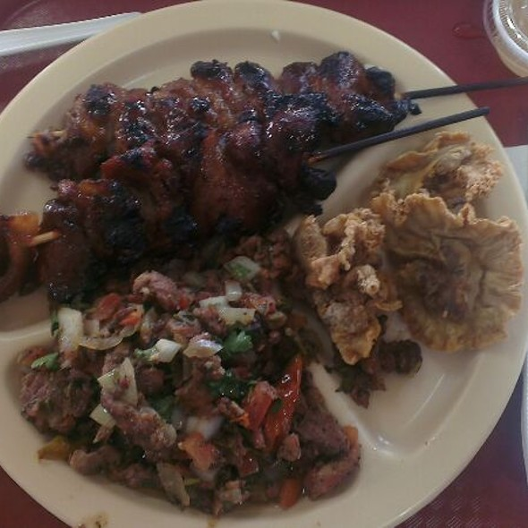 Barbecue, Pork, And Sitsaron Bulaklak (intestine)  @ D J Bibingkahan