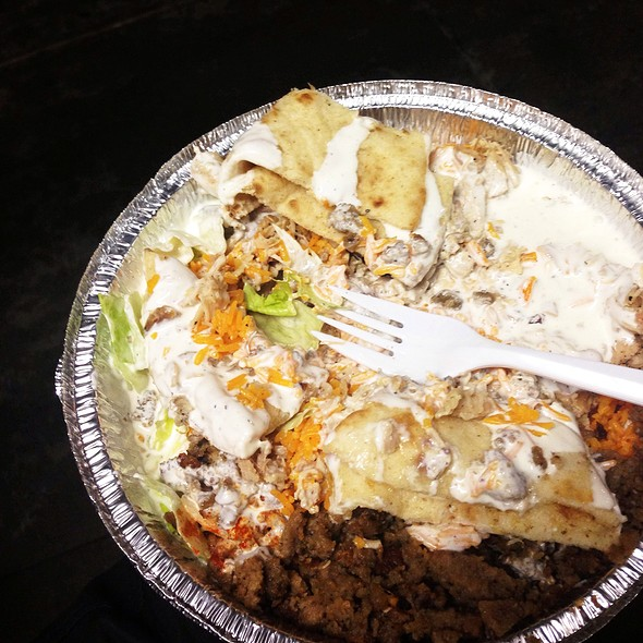 Chicken and Lamb Over Rice Combo Plate @ 53rd and 6th Halal Cart