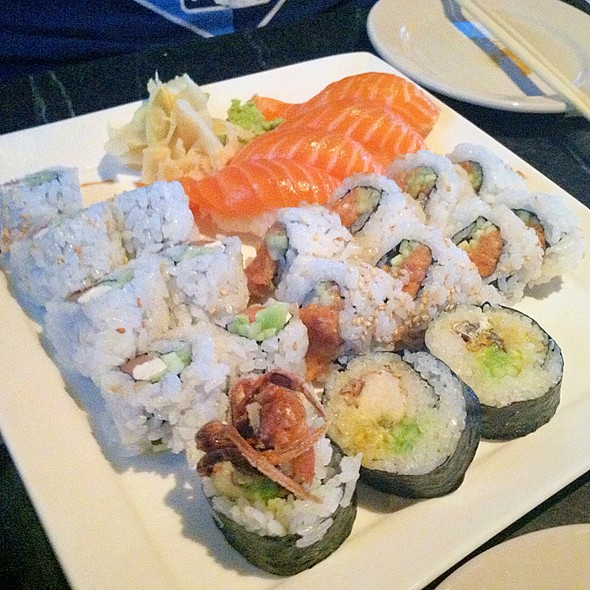 Salmon Sushi, Philly Roll, Spicy Tuna Roll And Soft Shell Crap Roll - Kona Grill - Kansas City, Kansas City, MO
