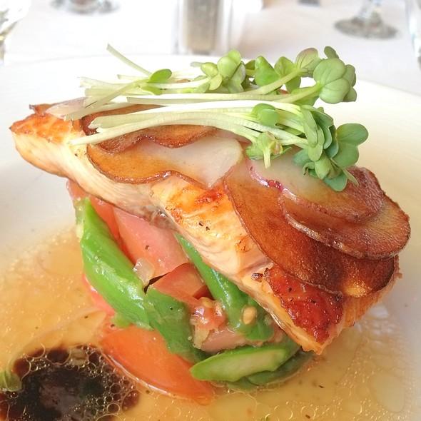 Potato Layered Salmon – Marinated Tomatoes, Asparagus, Meyer Lemon Vinaigrette, Balsamic Reduction - Marisol at the Cliffs Resort, Pismo Beach, CA
