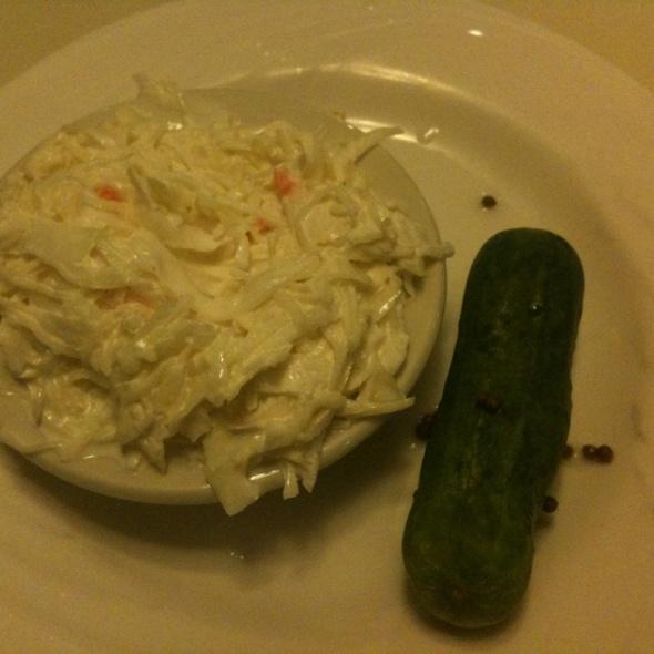 Classic Cole Slaw & Dill Pickle @ Del'rio Diner Restaurant