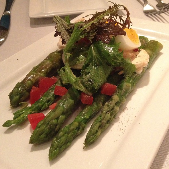 Jumbo Chilled Asparagus With Tiger Shrimp Aioli And A Soft-Boiled Egg - Hannah's off The Square, Denton, TX
