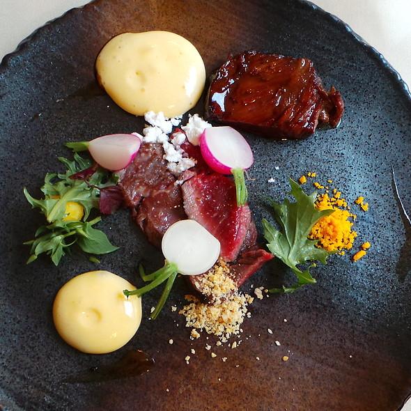 Nebraska Beef (Cheek, Fillet), Quail Egg, Radish, Hazelnut @ Agata's Restaurant