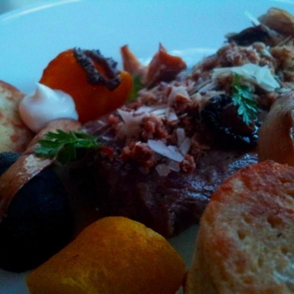 Lamb with morels, bread dumplings, Trumpet mushrooms, hazelnut, red & yellow beets