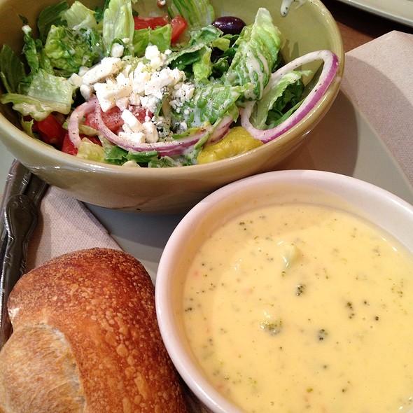 Cream Of Broccoli Soup With Greek Salad @ Panera Bread