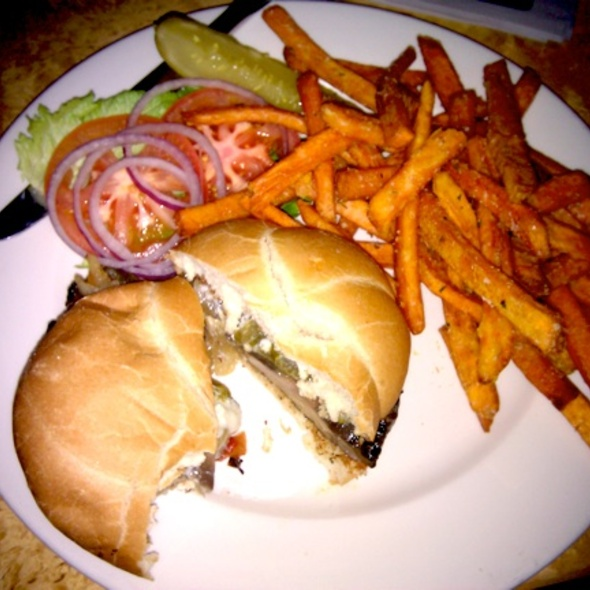 Blue Cheese Portobello Sandwich with Sweet Potato Fries - Solid Grill & Bar, Boise, ID