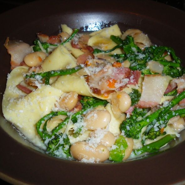 Housemade Pappardelle, Bacon, Butter Beans and Broccoli di Cicco @ Nopa