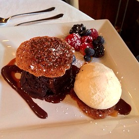 Warm Flourless Chocolate Torte - Terra Restaurant, Thornhill, ON