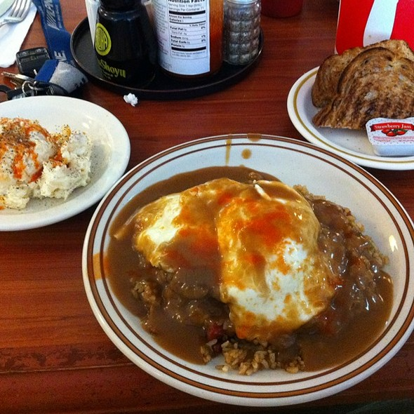 Fried Rice Loco Moco with extra Tabasco, Wheat Toast and Potato/Mac Salad Tabasco All Over