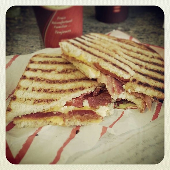Grilled Chicken Panini- Grilled Chicken, Pesto, Bacon, Tomato, And ...