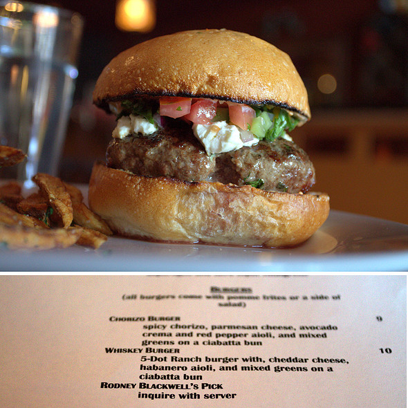 Rodney Blackwell's Burger Pick @ Formoli's Restaurant